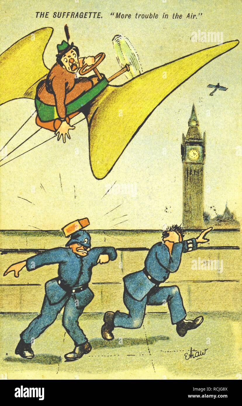Suffrage-era, color postcard, depicting a mature woman, wearing a red and green dress and hat, flying an odd, propeller-like contraption, and dropping a brick on a bobby or English policeman's head, with Big Ben visible in the background, referencing the ill-fated, 1909 dirigible flight of Australian suffragist, Muriel Matters, with the caption 'The Suffragette, 'More Trouble in the Air', ' published for the British market, 1909. () - Stock Image