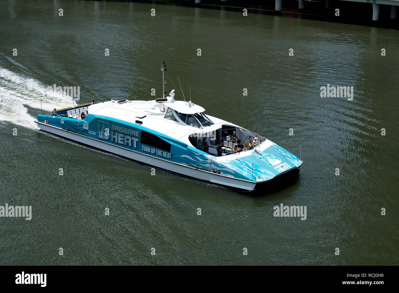 A CityCat catamaran on the Brisbane River, Brisbane, Queensland, Australia - Stock Image