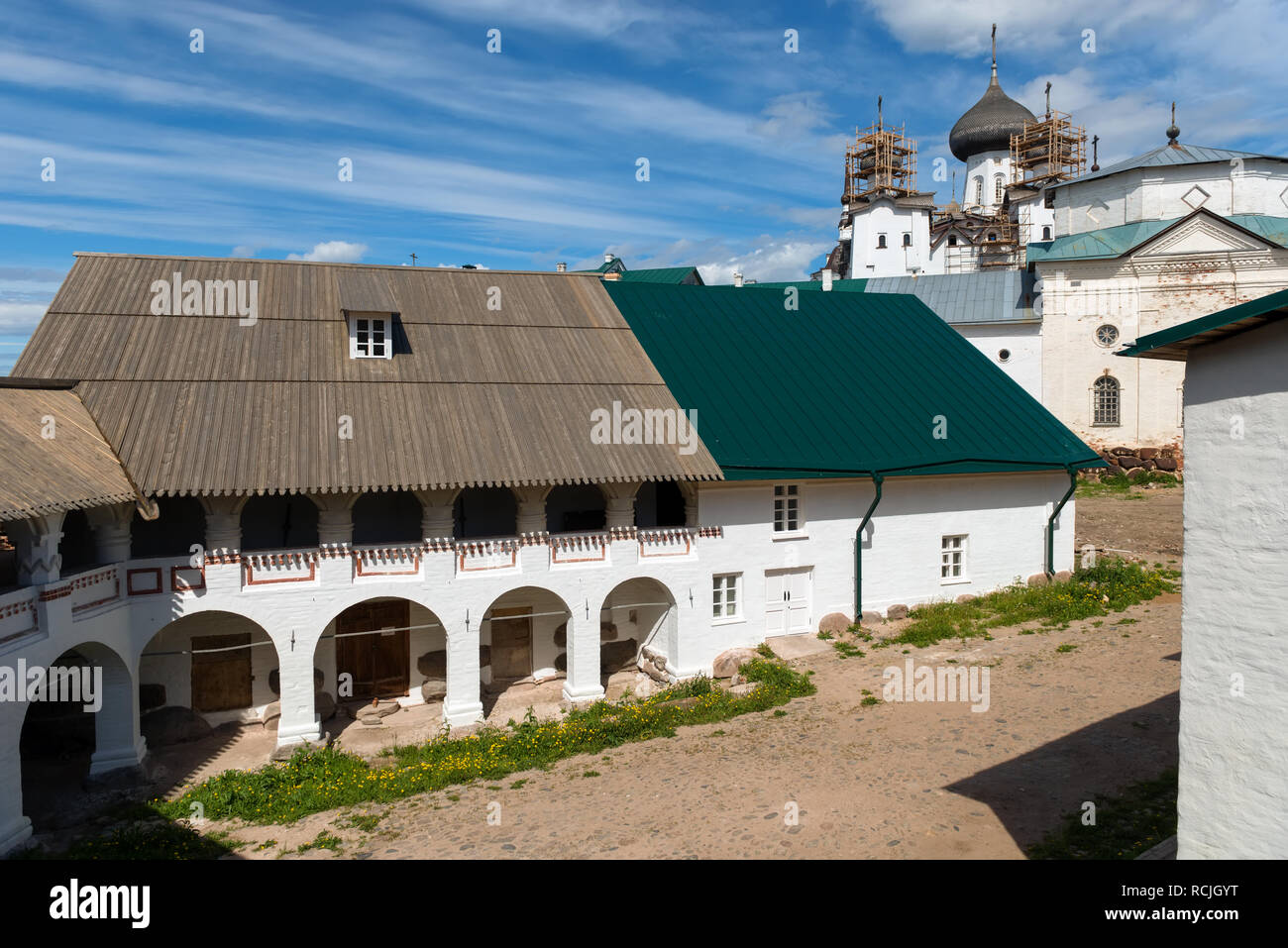 SOLOVKI, REPUBLIC OF KARELIA, RUSSIA - JUNE 27, 2018: View of the mill  In the Spaso-Preobrazhensky Solovetsky Monastery. Russia, Arkhangelsk region,  Stock Photo
