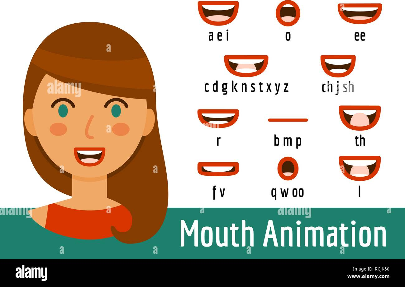 Mouth Lip Sync set for animation of sound pronunciation. Phoneme