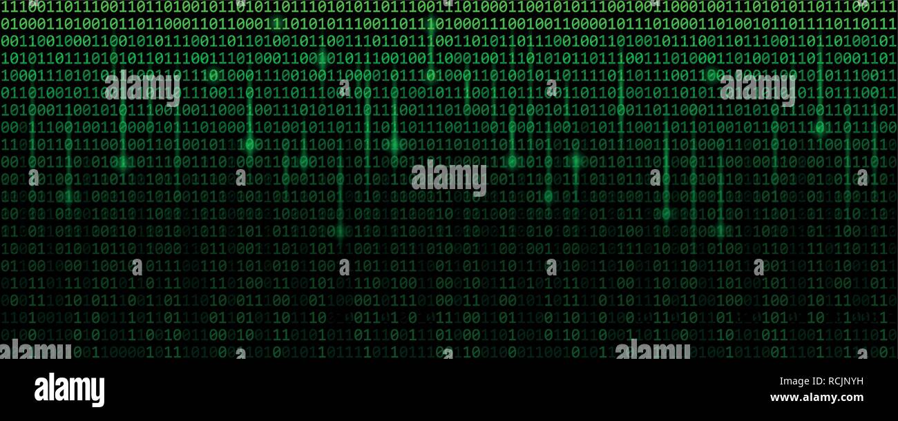 green matrix binary code web background vector illustration EPS10 - Stock Image