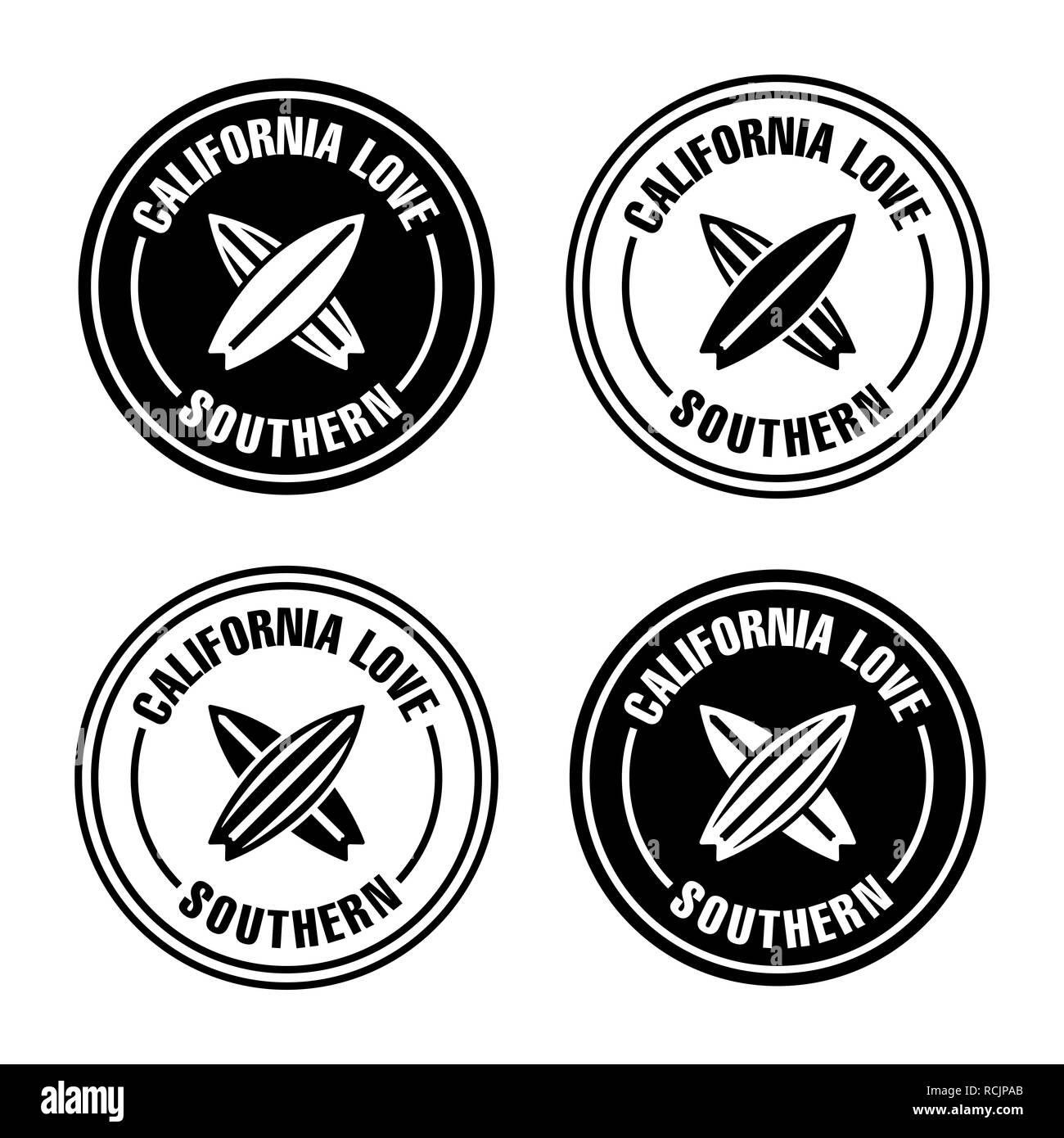 Surfing board logo badges. - Stock Image