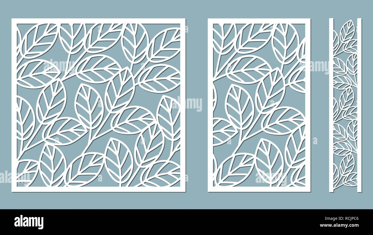 Set Template For Cutting Leaves Pattern Laser Cut Vector