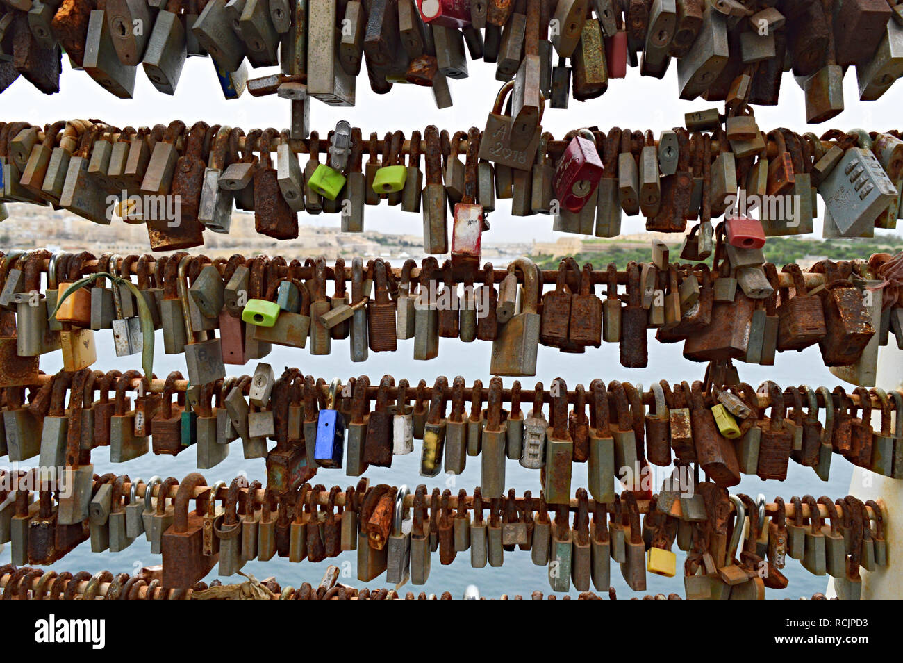 Padlocks on the footbridge at Silema Malta - Stock Image
