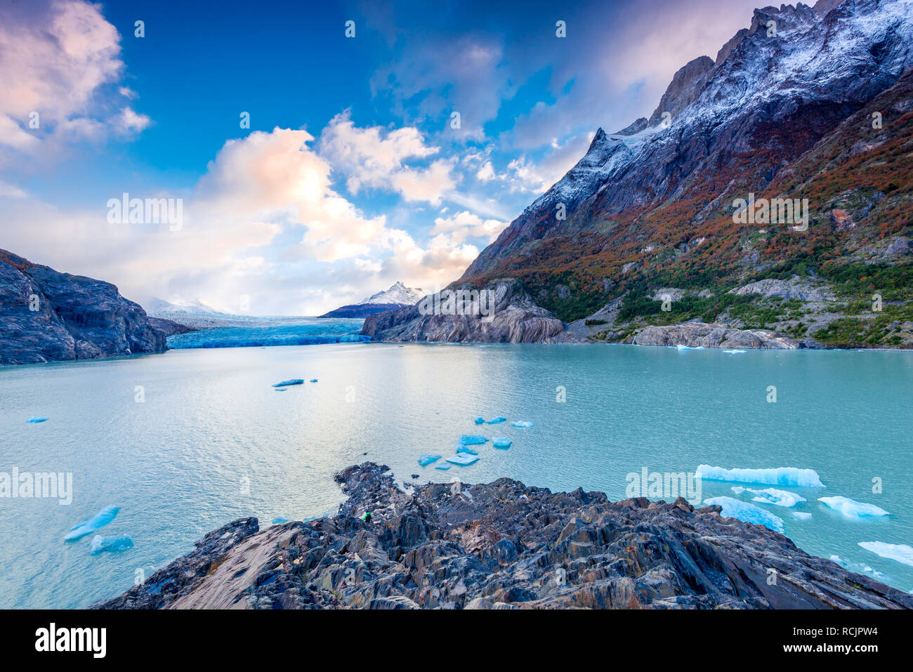 Patagonia, Chile, Grey Glacier  in the Southern Patagonian Ice Field on Cordillera del Paine, South America - Stock Image