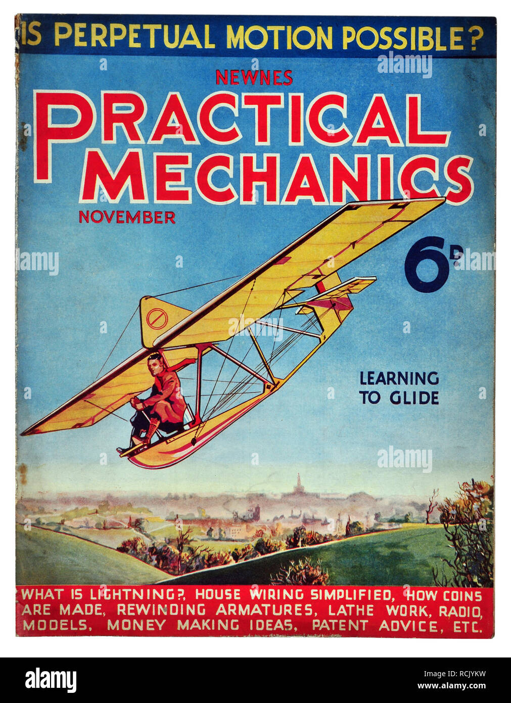 Newnes practical mechanics November 1934 costing 6D Learning to glide - Stock Image