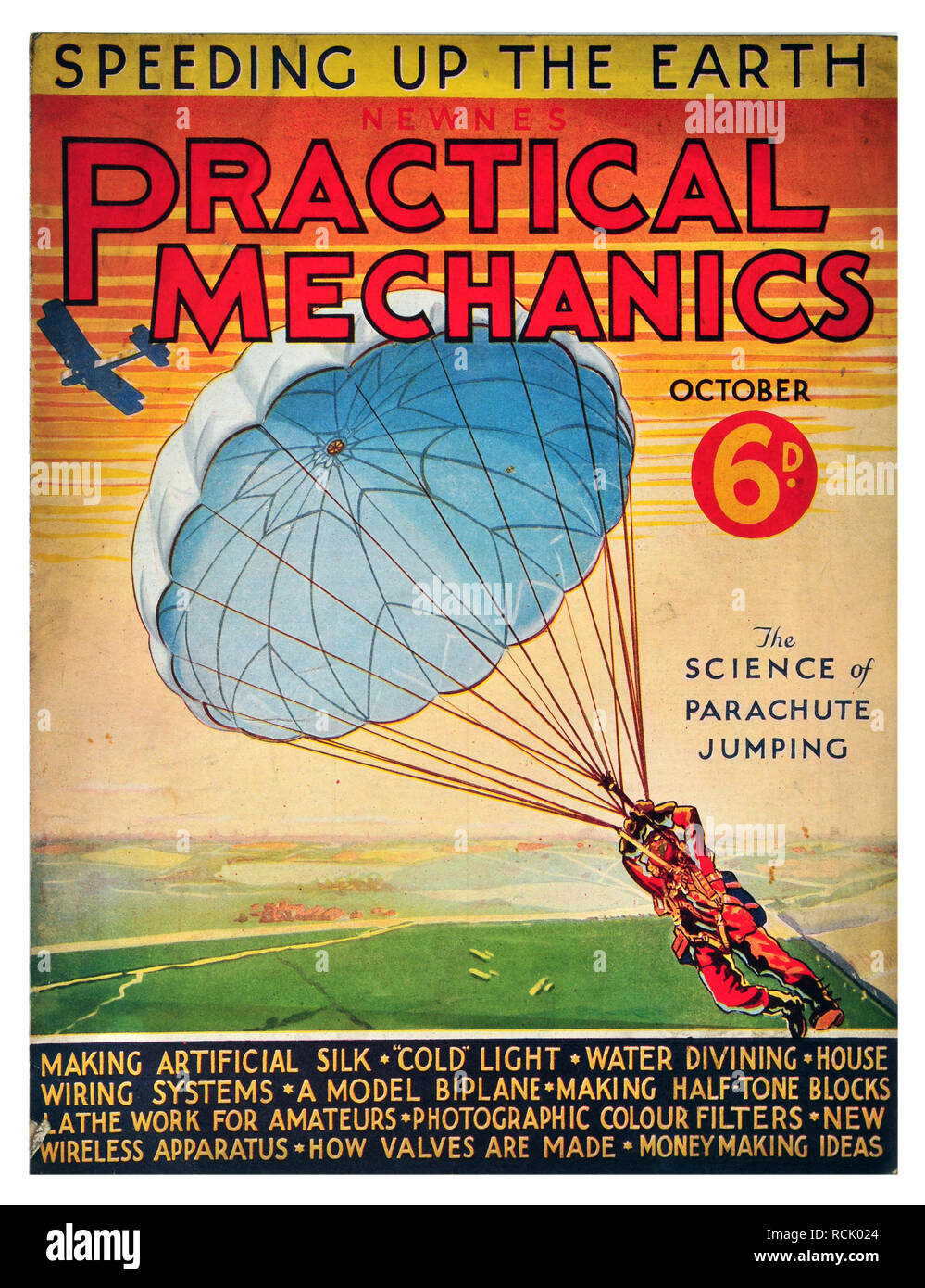 Newnes practical mechanics October 1934 costing 6D The science of parachute jumping - Stock Image