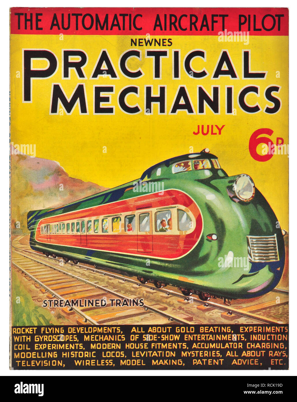 Newnes practical mechanics July 1934 Streamlined trains costing 6D - Stock Image