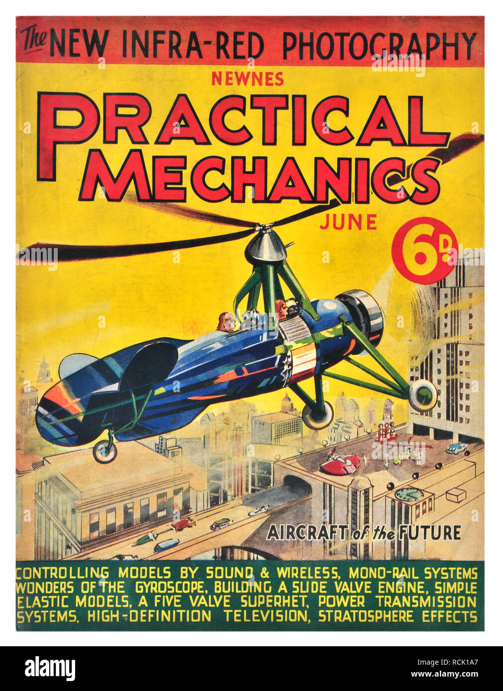 Newnes practical mechanics June costing 6D aircraft of the future - Stock Image