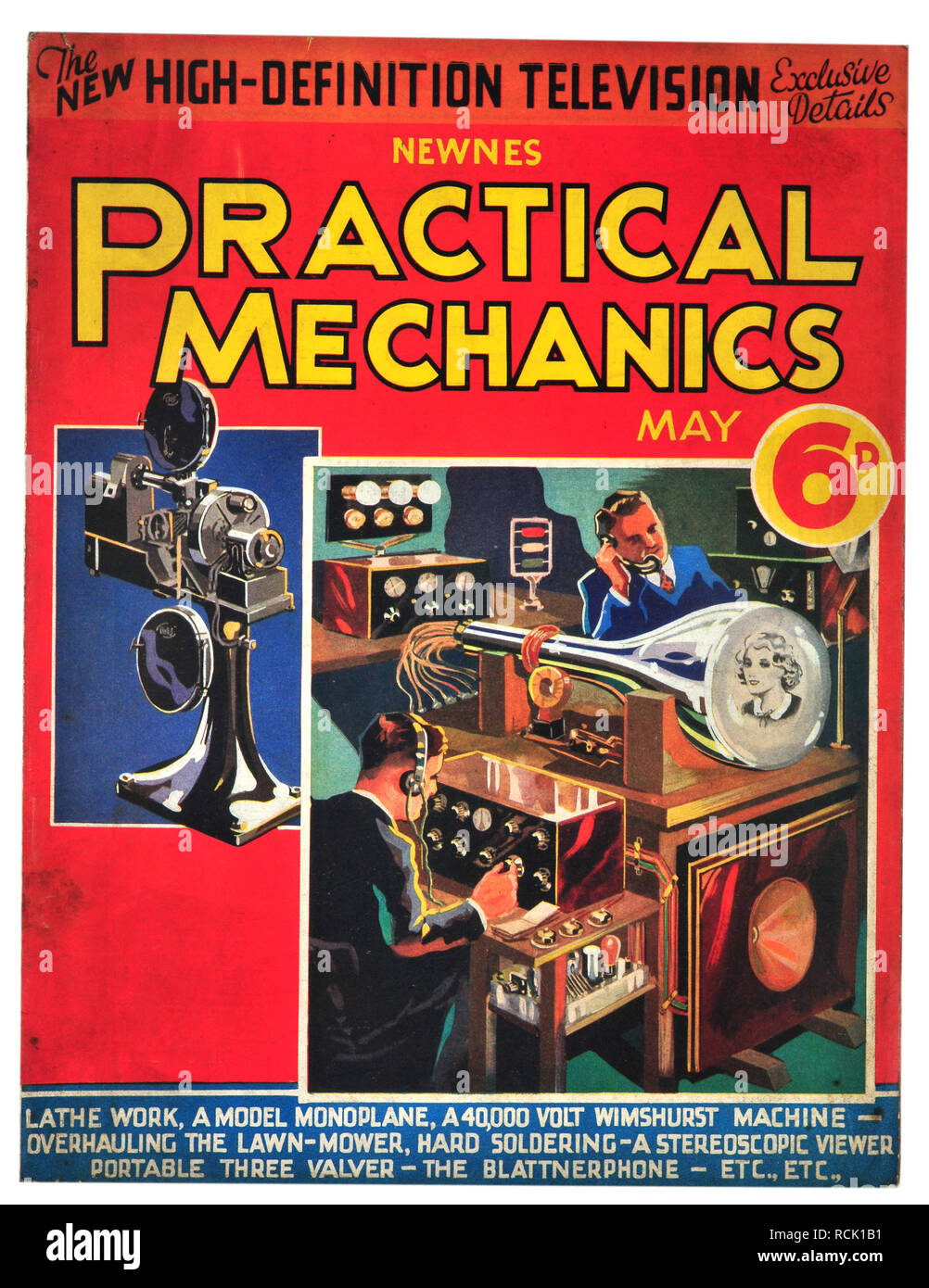 Newnes practical mechanics May 1934 costing 6D The new high-definition television - Stock Image