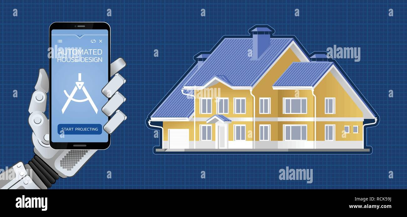 Automated House Design Stock Vector