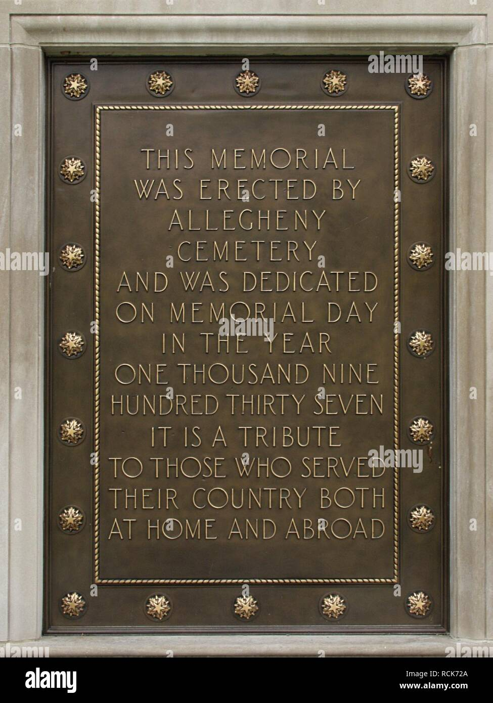 Allegheny Soldiers‥99 Memorial, Allegheny Cemetery, 2015-04-15, 02. Stock Photo