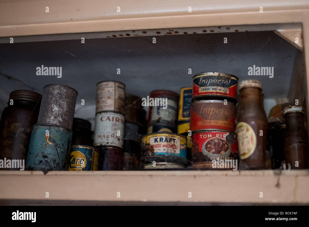 Old tins of food in cupboard in kitchen in derelict 1930s deco style house, Rayners Lane, Middlesex UK - Stock Image