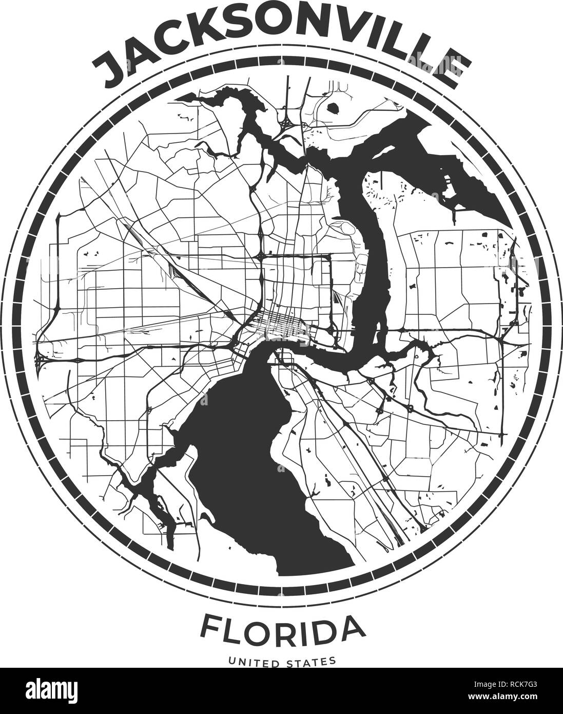photograph regarding Printable Map of Jacksonville Fl referred to as T-blouse map badge of Jacksonville, Florida. Tee blouse print