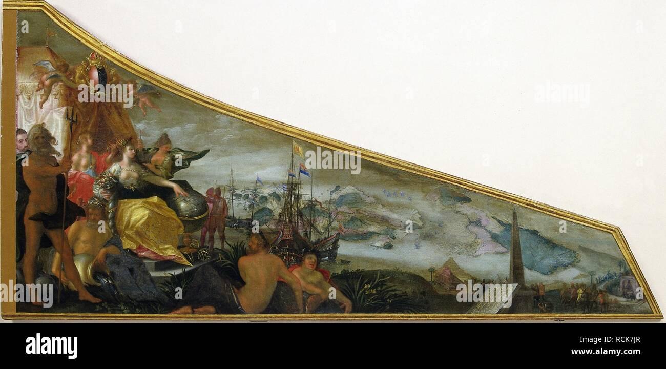 Allegorische voorstelling van Amsterdam als centrum van de wereldhandel Rijksmuseum SK-A-4947. - Stock Image