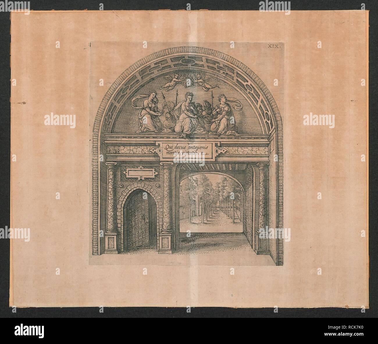 Allegorische voorstelling van een poort met deugden met een zicht op een tuin. - Stock Image