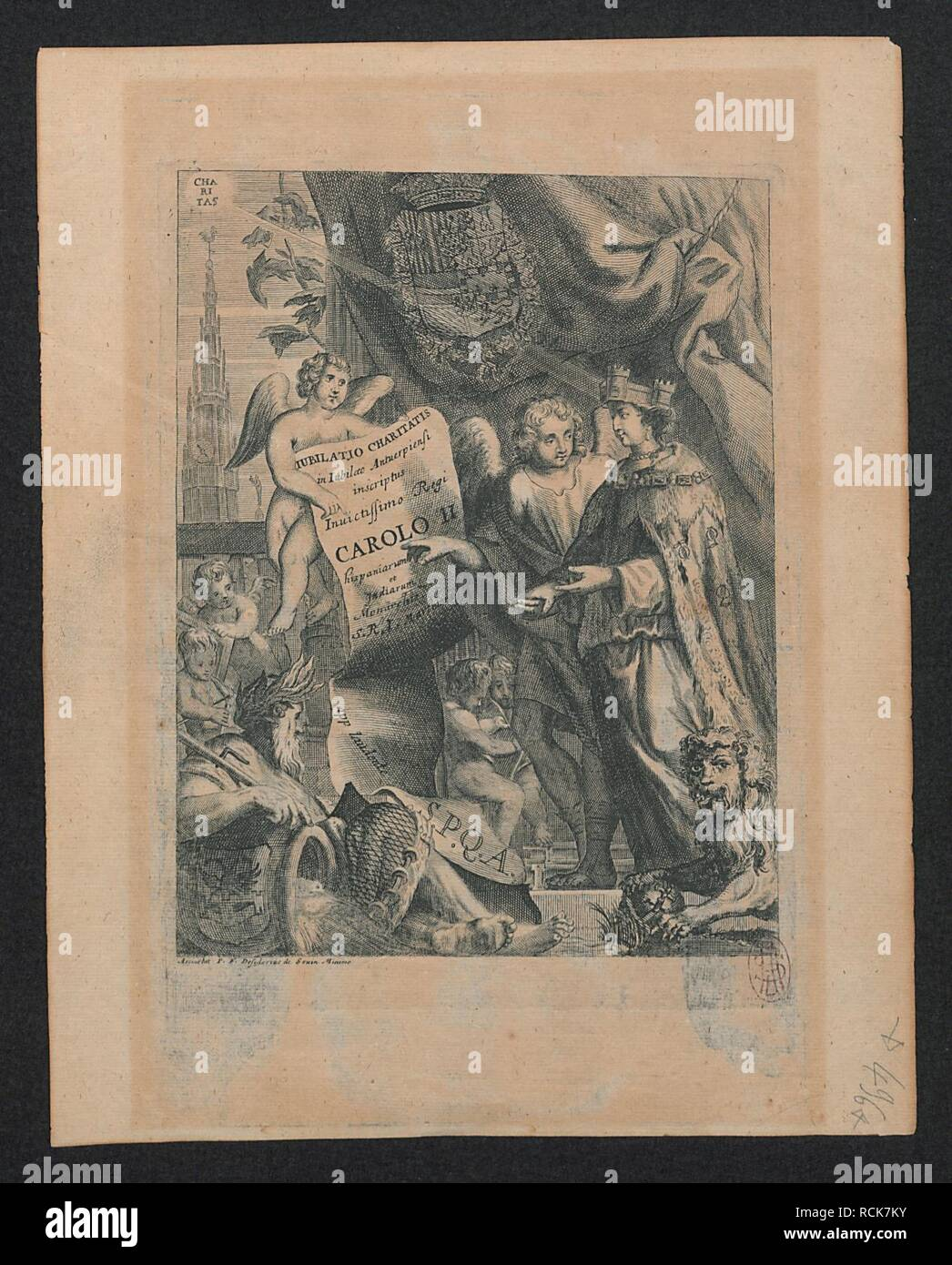 Allegorische voorstelling voor het Antwerpse jubileum gericht aan Karel II van Spanje. - Stock Image