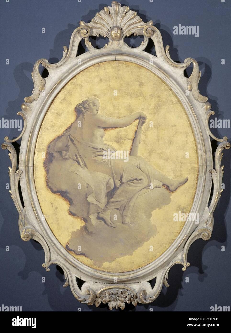 Allegorische vrouwenfiguur met een knots (wellicht Kracht) Rijksmuseum SK-A-3437. - Stock Image
