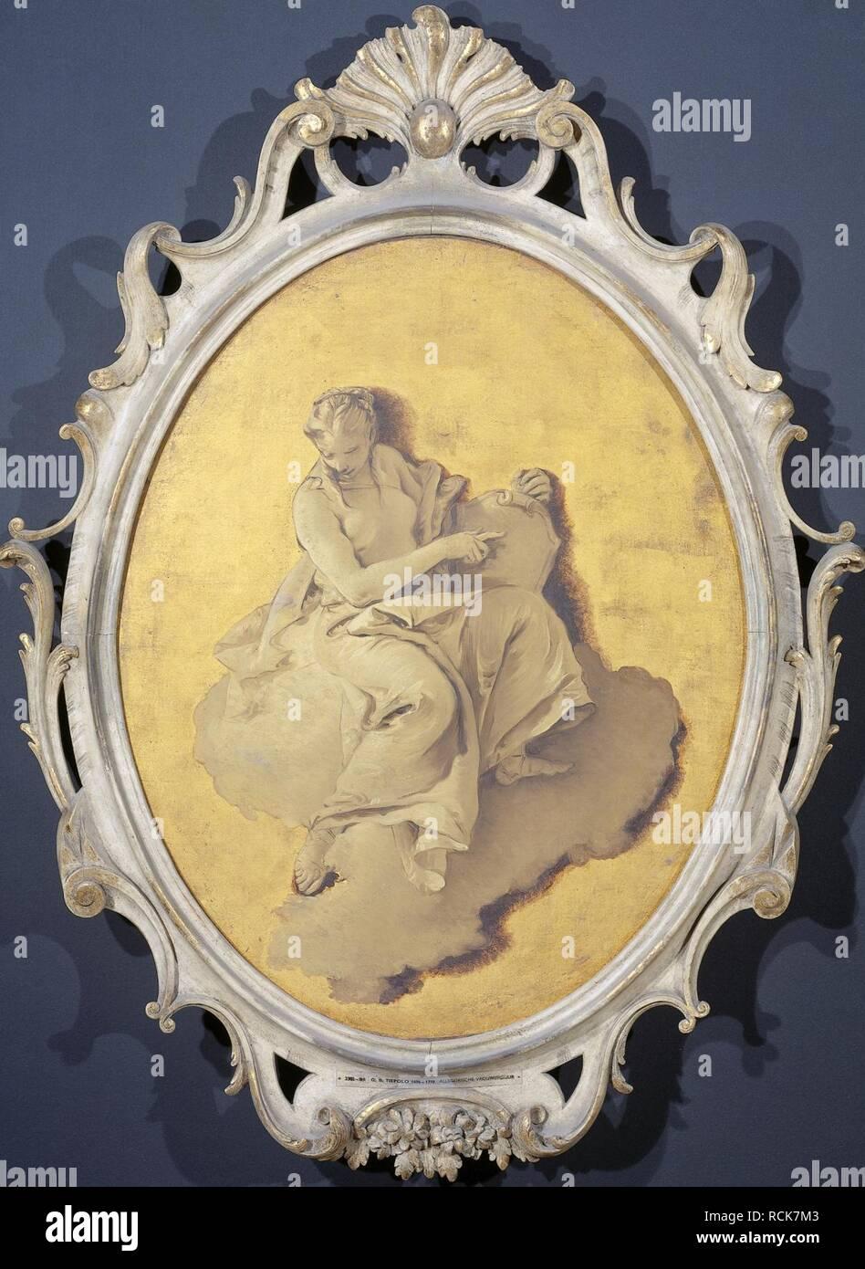 Allegorische vrouwenfiguur met een schild of spiegel (wellicht Voorzichtigheid) Rijksmuseum SK-A-3438. - Stock Image