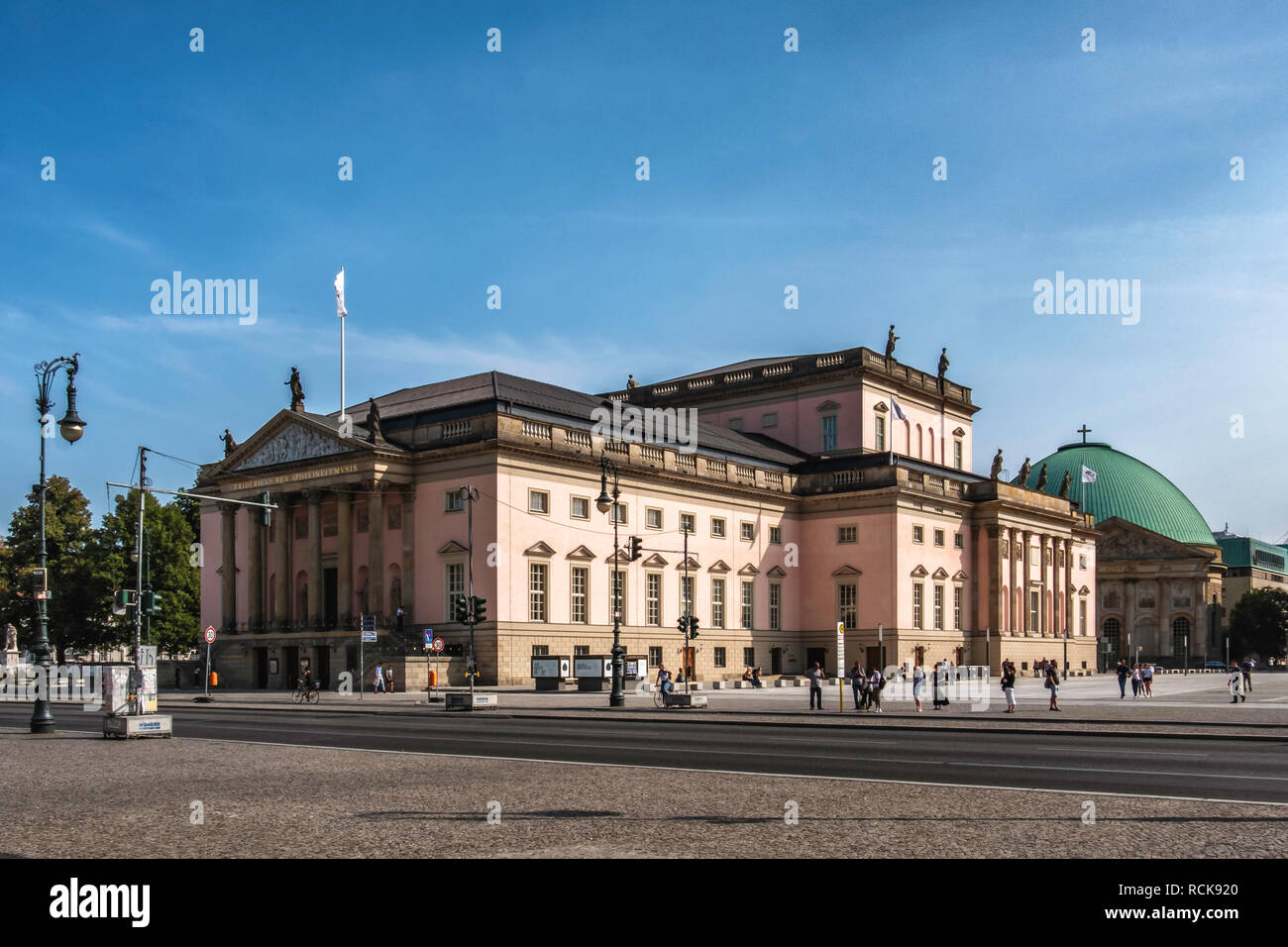 Berlin,Mitte, Unter den Linden. State Opera House - Old historic Neo-classical building newly re-opened after reconstruction.                          - Stock Image