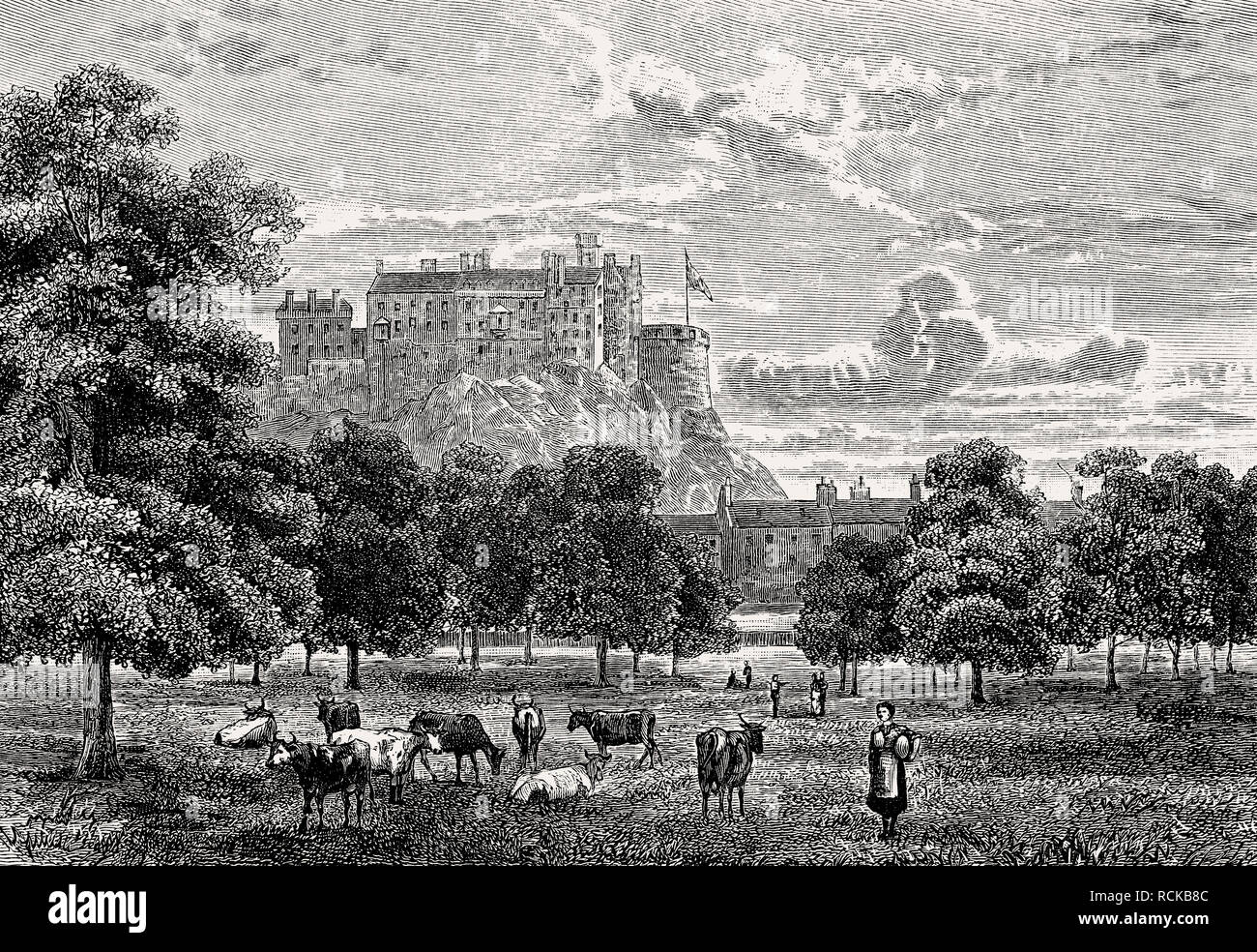 The Meadows, large public park in Edinburgh, Scotland, 19th century - Stock Image