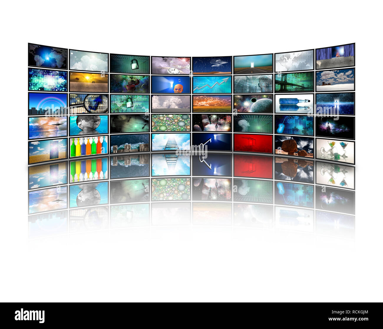 Wall of Media Screens with various pictures - Stock Image