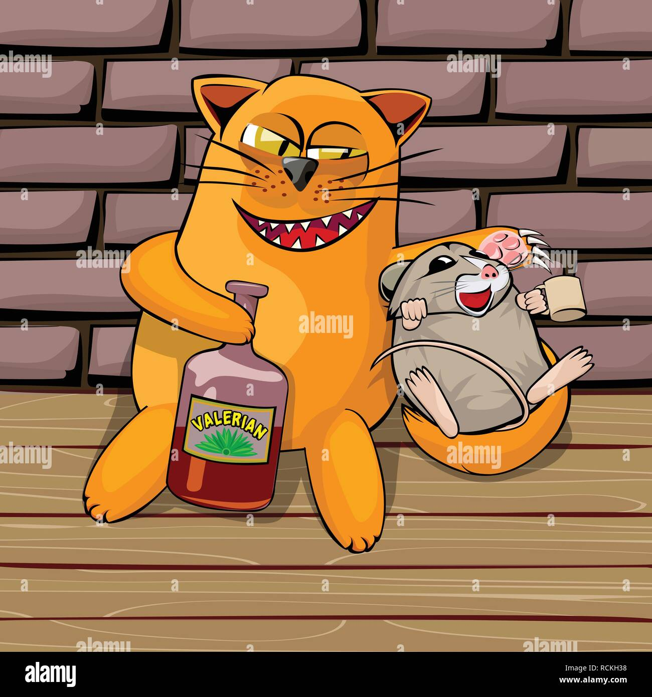 Red cat and mouse in the basement drinking valerian. Mouse drunk. cat look tricky, he shows his teeth and claws. Cartoon illustration with isolated ob - Stock Vector