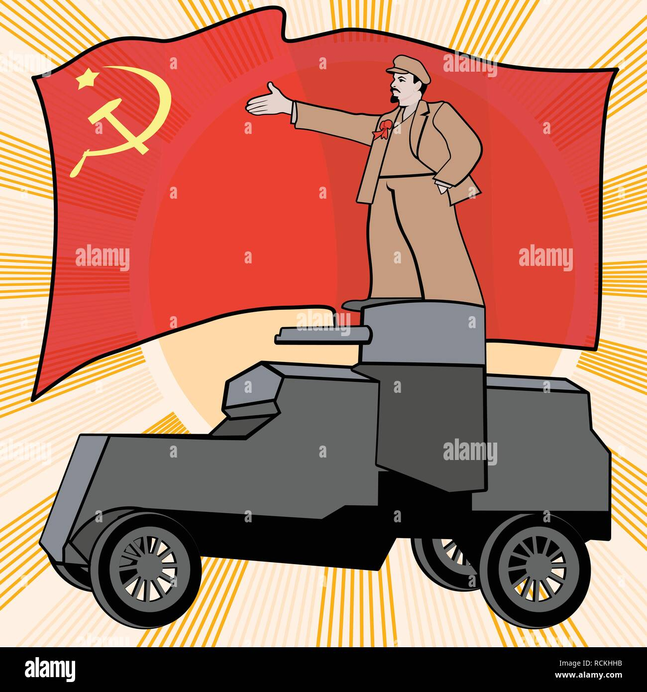 Lenin On The Armored Car On A Background Of The Red Flag Poster
