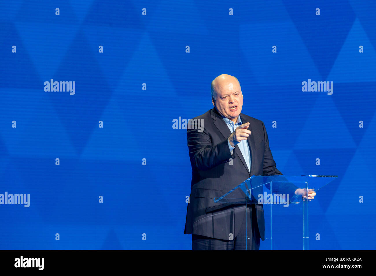 Detroit, Michigan - Jim Hackett, president and CEO of Ford Motor Co., speaks as Ford introduces new vehicles at the North American International Auto  - Stock Image