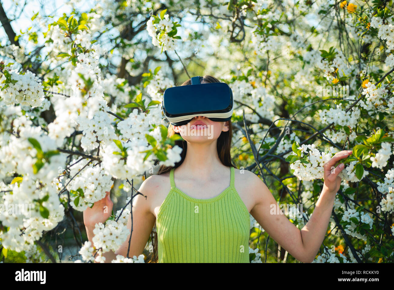 Young Woman Touching VR Glasses Stock Photo - Image of