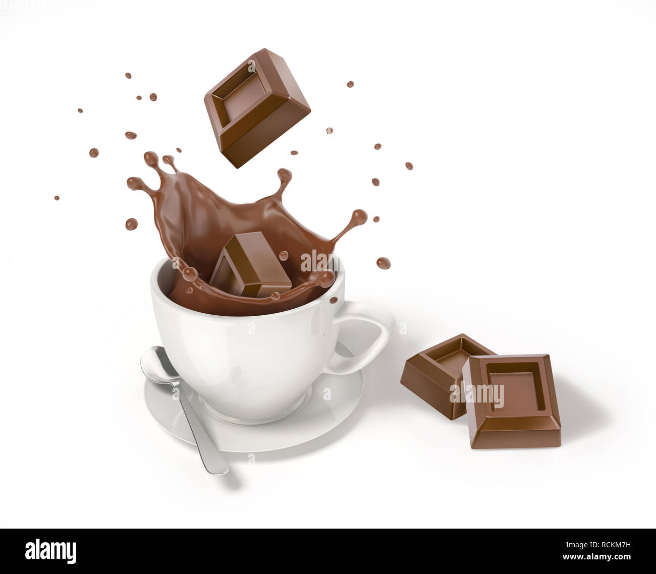 Chocolate cube falling into a white cup with liquid chocolate splash. Two other cubes besides. On white background. - Stock Image