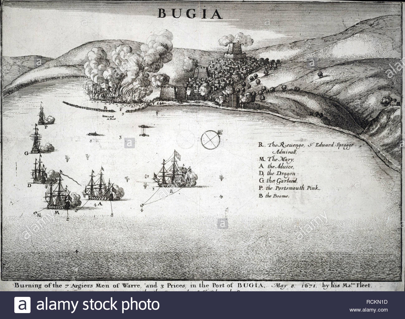 Naval Battle at Bugia from 8th May 1671, etching by Bohemian etcher Wenceslaus Hollar from 1600s Stock Photo