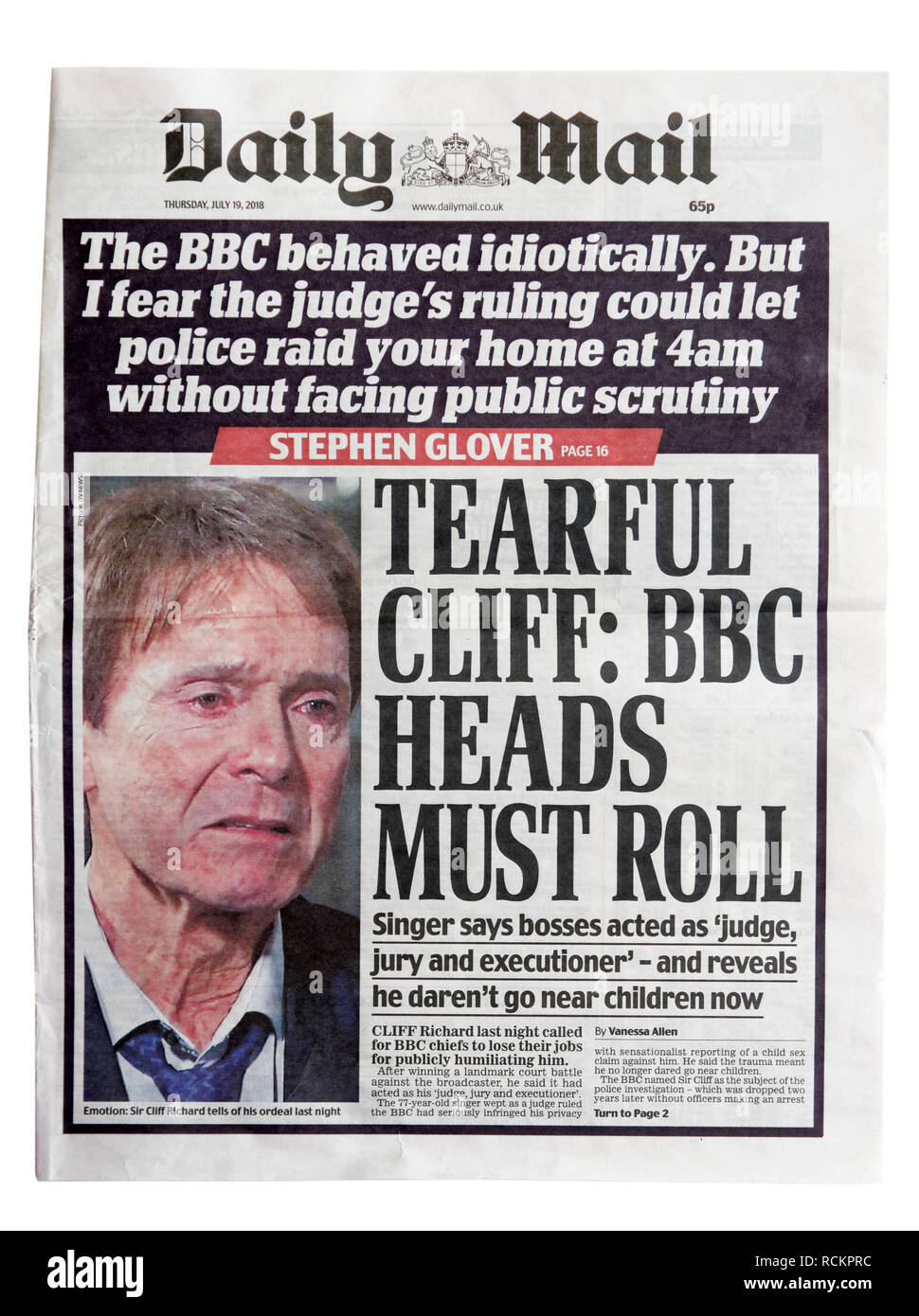 The front page of the Daily Mail with the headline Tearful Cliff: Heads Must Roll, discussing the search of his house and child abuse claims. - Stock Image
