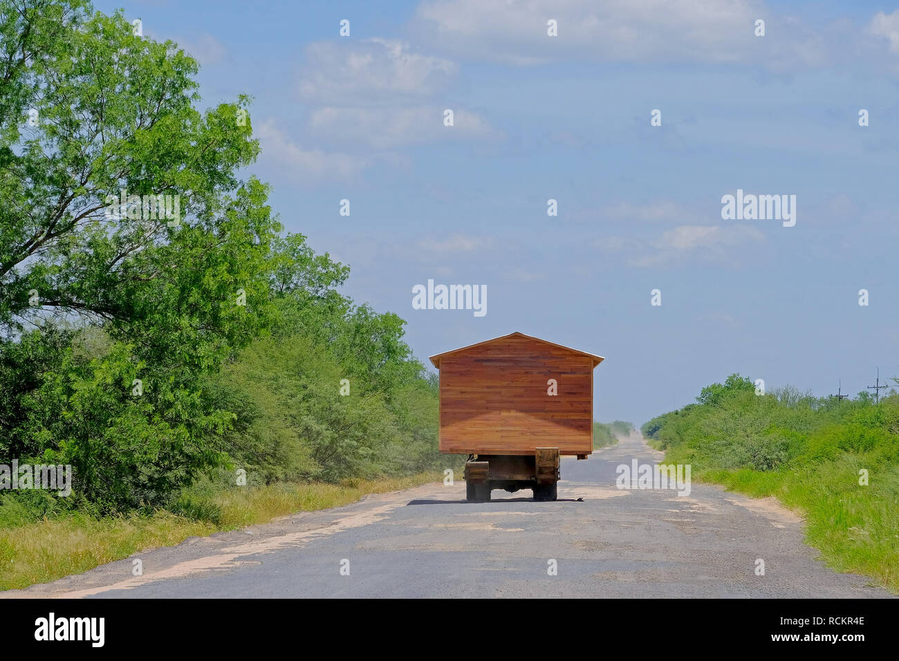 Prefab House Moving On A Truck And Looking Like A Motorhome Rv Gran Chaco Paraguay Stock Photo Alamy
