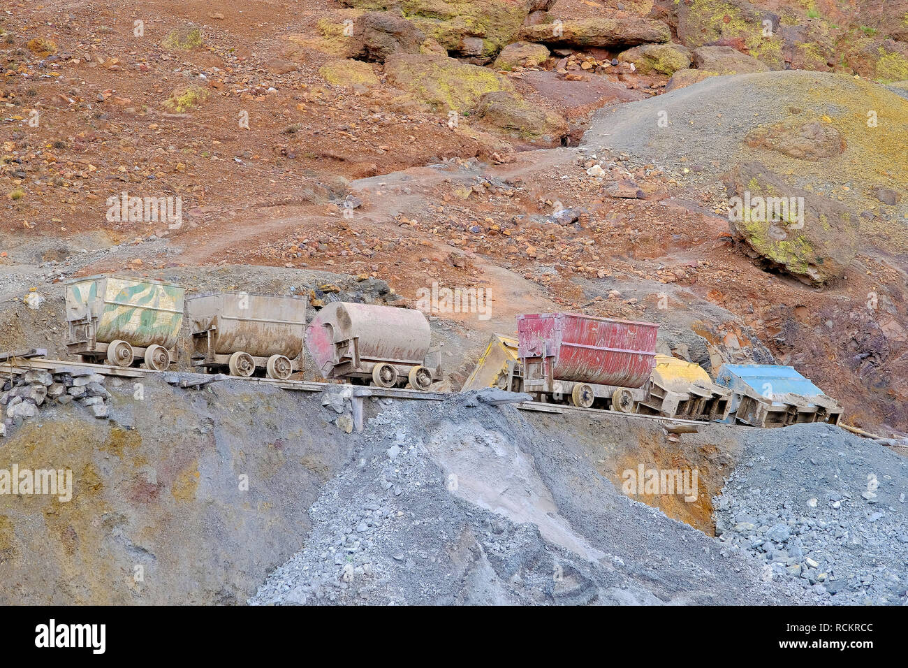 Colorful carts for the miners, Potosi Bolivia - Stock Image