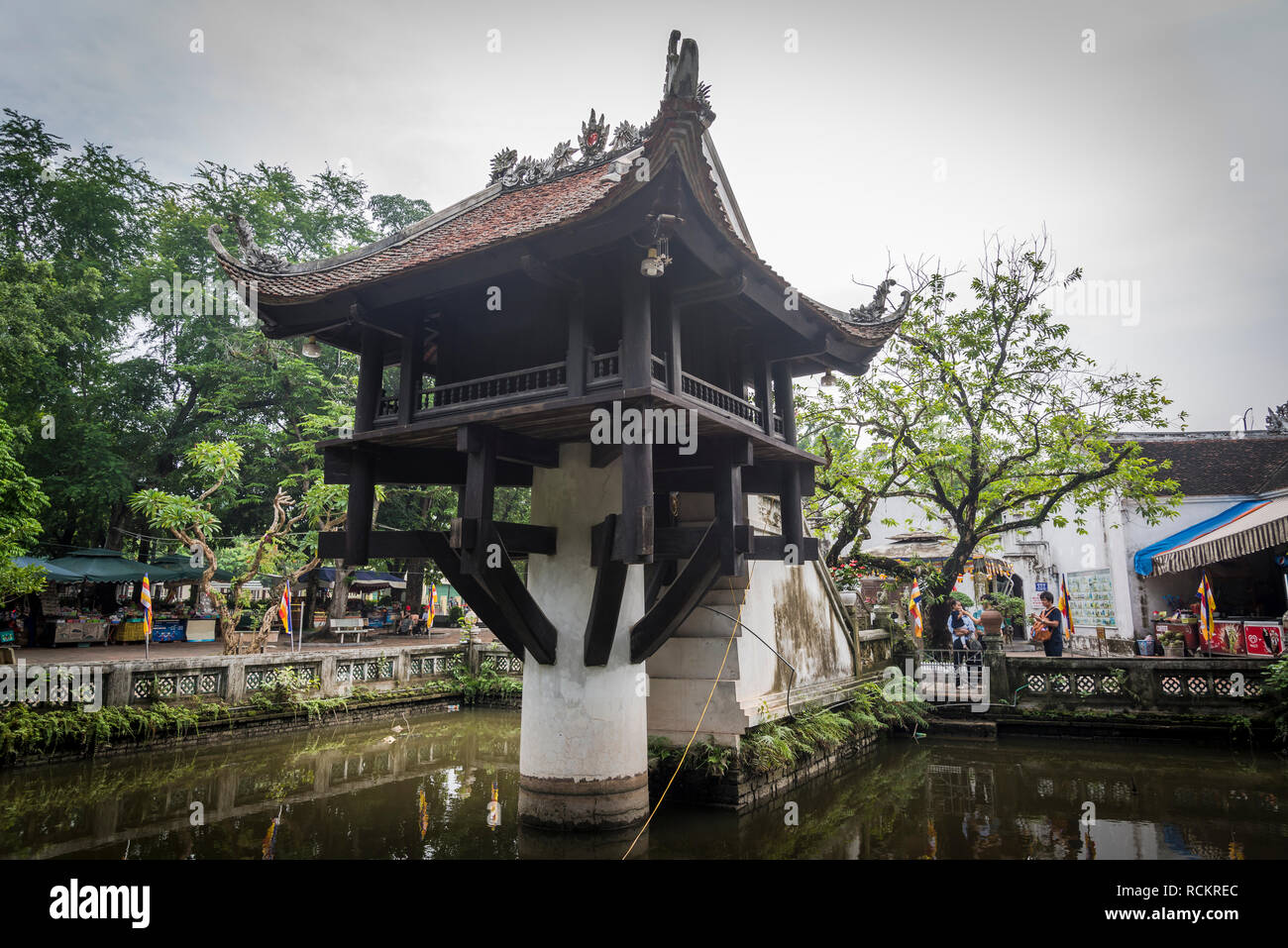 One Pillar Pagoda, a historic Buddhist temple built during Ly Dynasty in the 11th century, Hanoi, Vietnam - Stock Image
