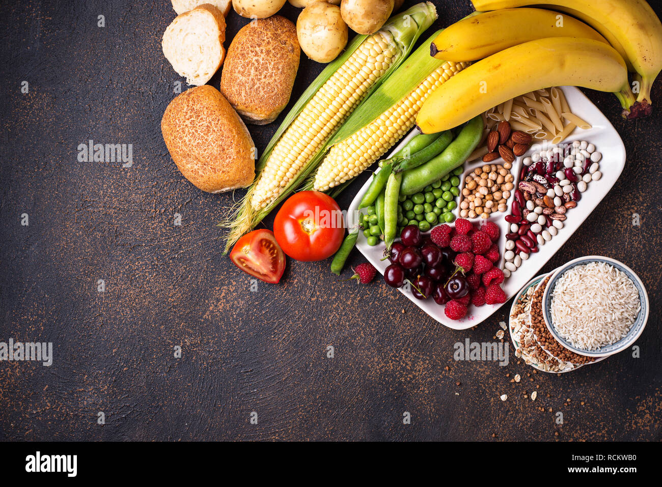 Healthy products sources of carbohydrates. - Stock Image