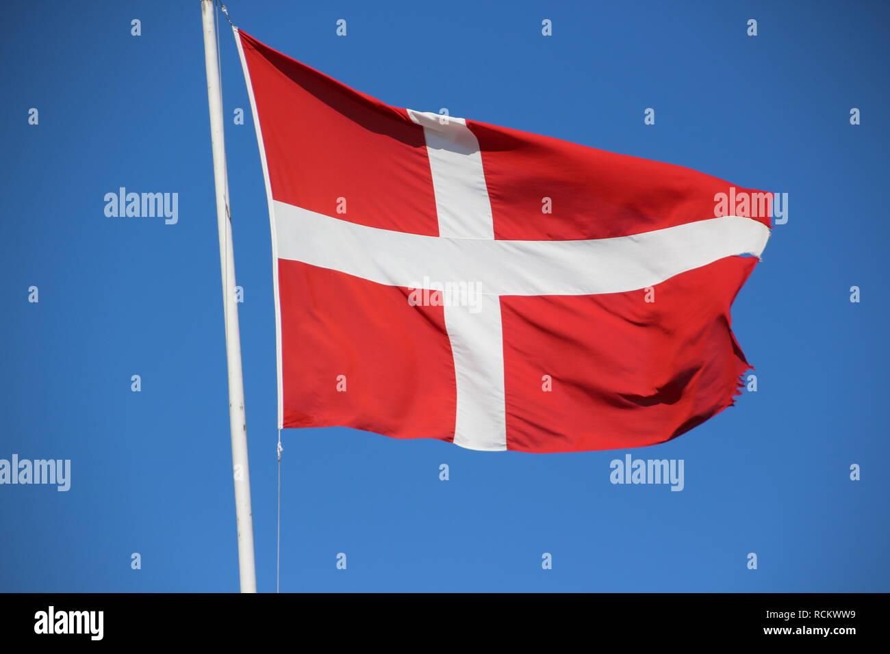 Die Dänische Nationalfahne Stock Photo