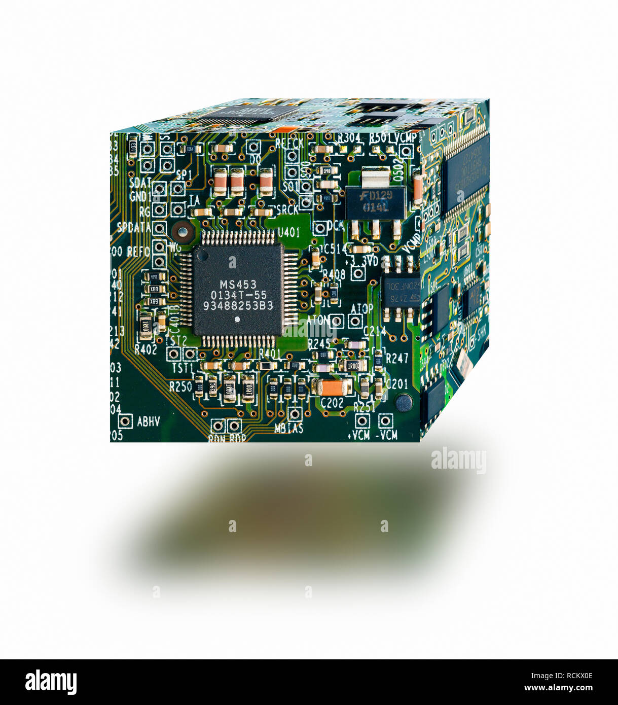 Three dimensional cube made from circuit boards, floating against  white background - Stock Image