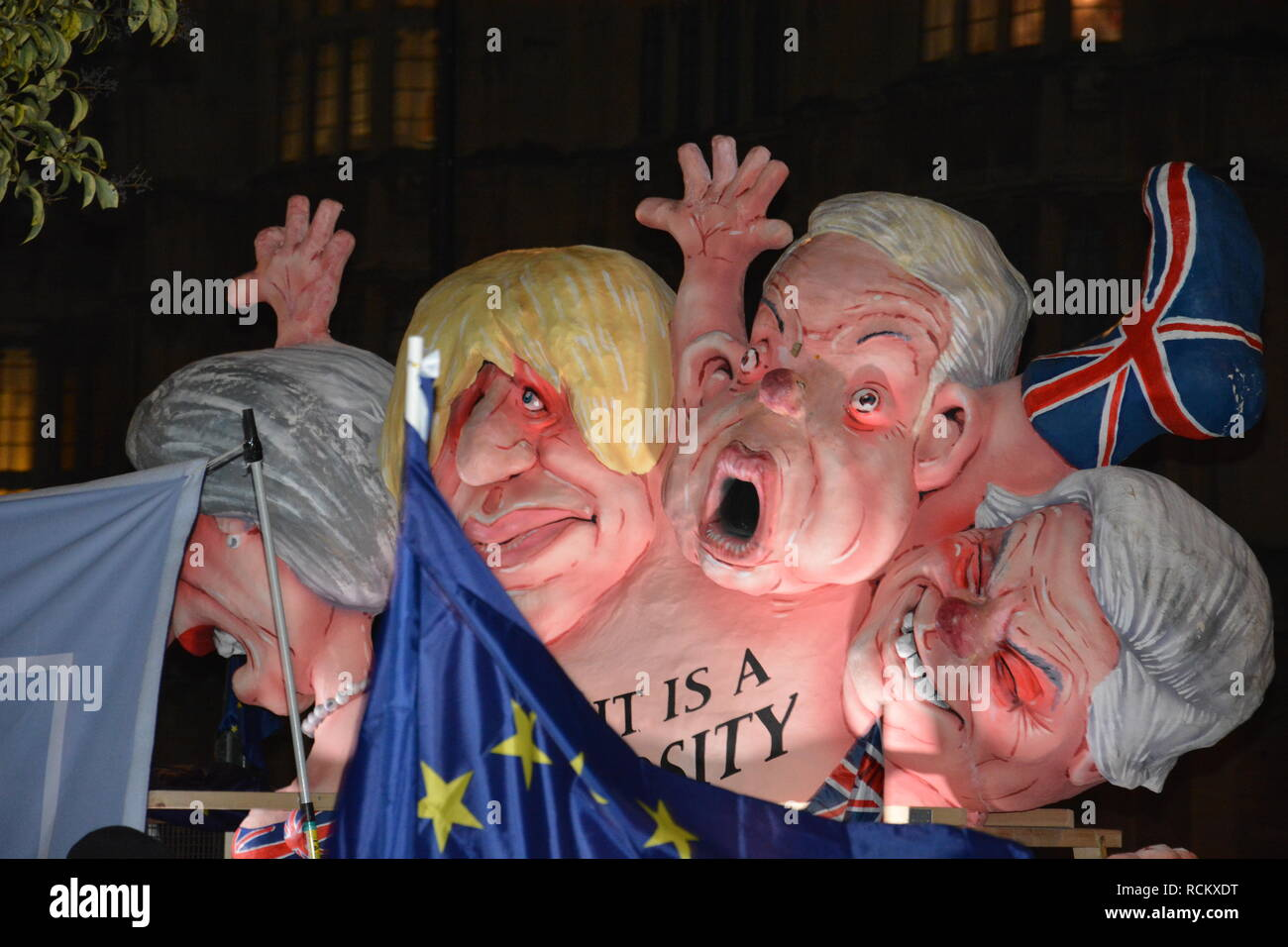 Night of the Meaningful Vote in Parliament 15th January 2019. - Stock Image
