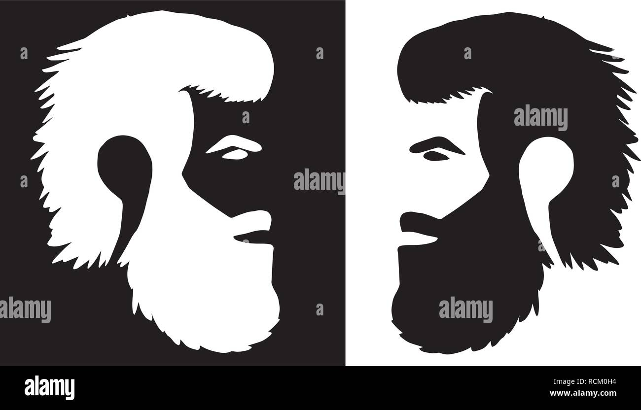 Man with beard - younger to older ages face to face - Stock Vector