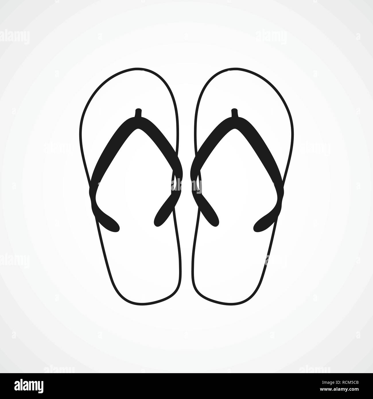 e15bb4132 Flip flops icon in flat design. Vector illustration. Black flip flops icon