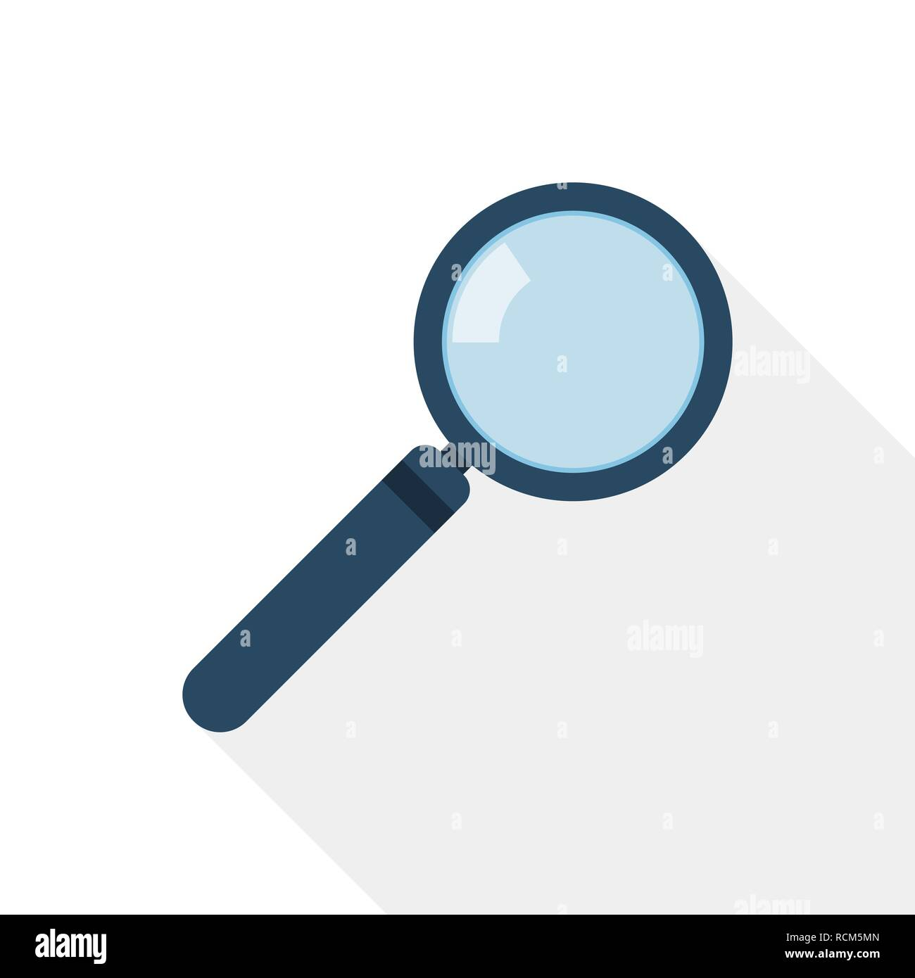 Magnifier icon in flat design. Vector illustration. Magnifier with long shadow - Stock Image