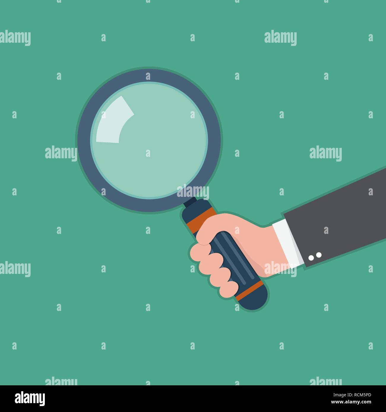Human hand holding magnifying glass. Vector illustration. Concept of analysis, exploration or zoom - Stock Image