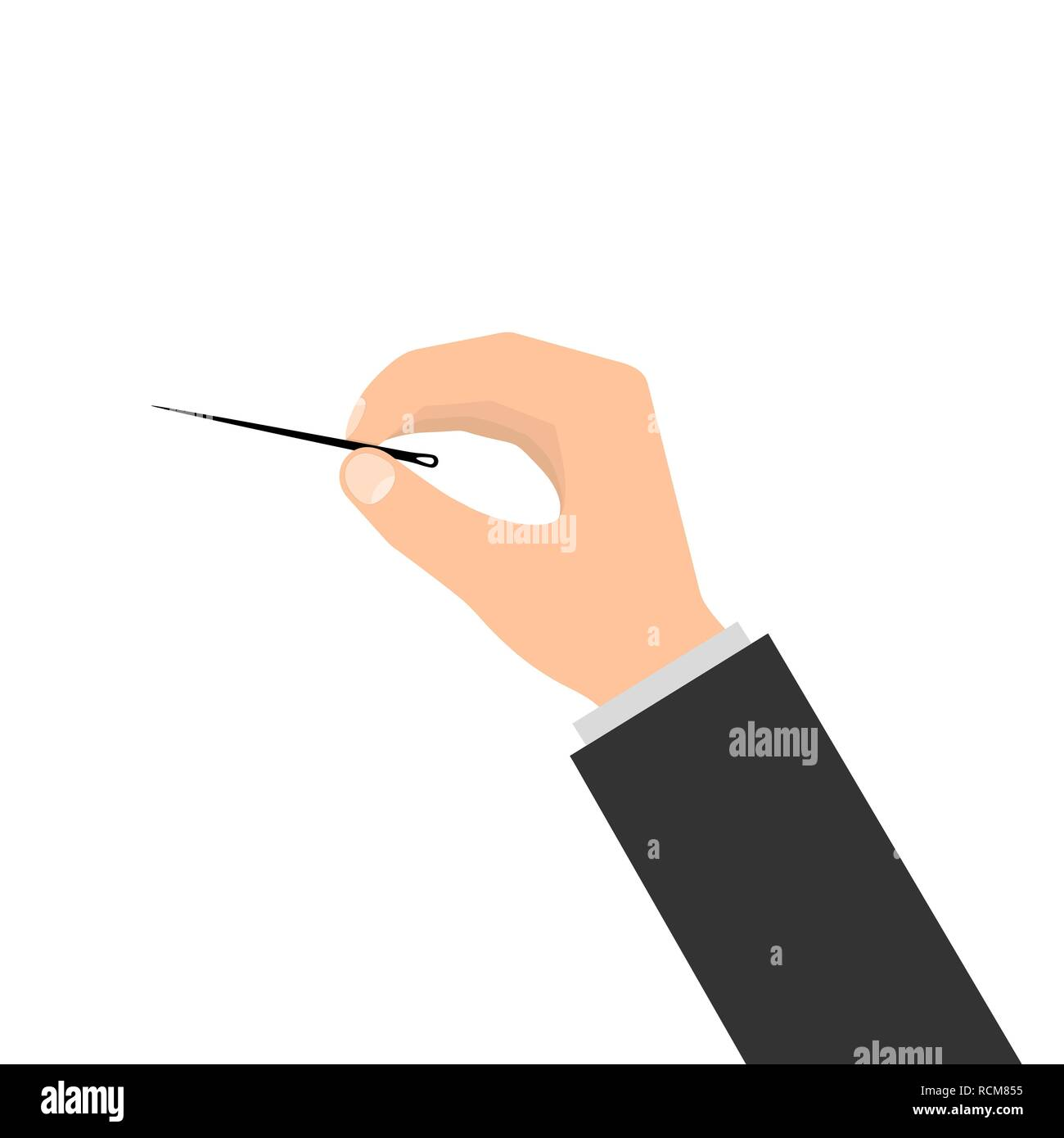 Human hand with needle and thread in flat design. Vector illustration. Needle in the hand - Stock Vector