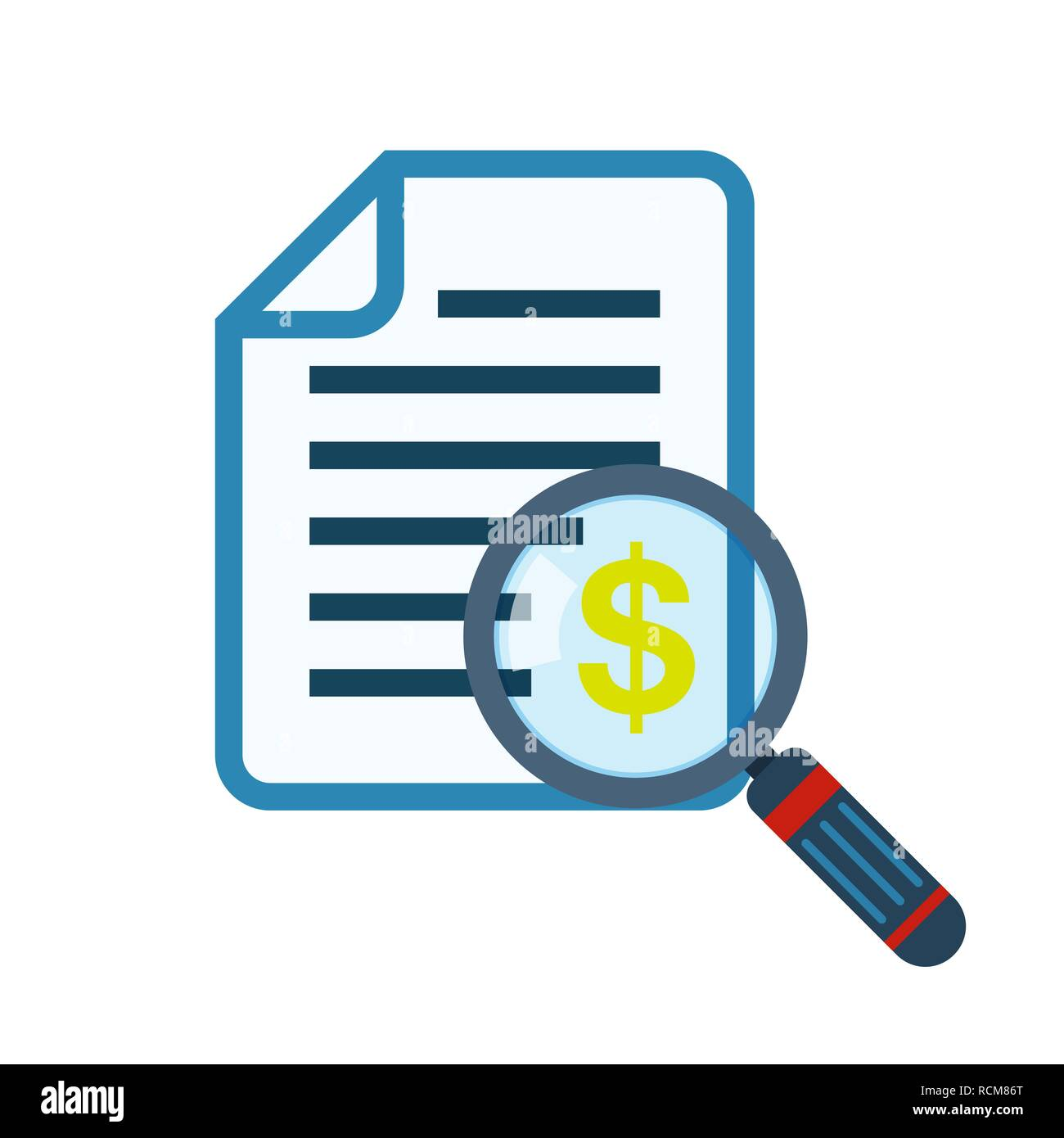Magnifier and document in flat design. Vector illustration. Concept of analytics or control - Stock Image
