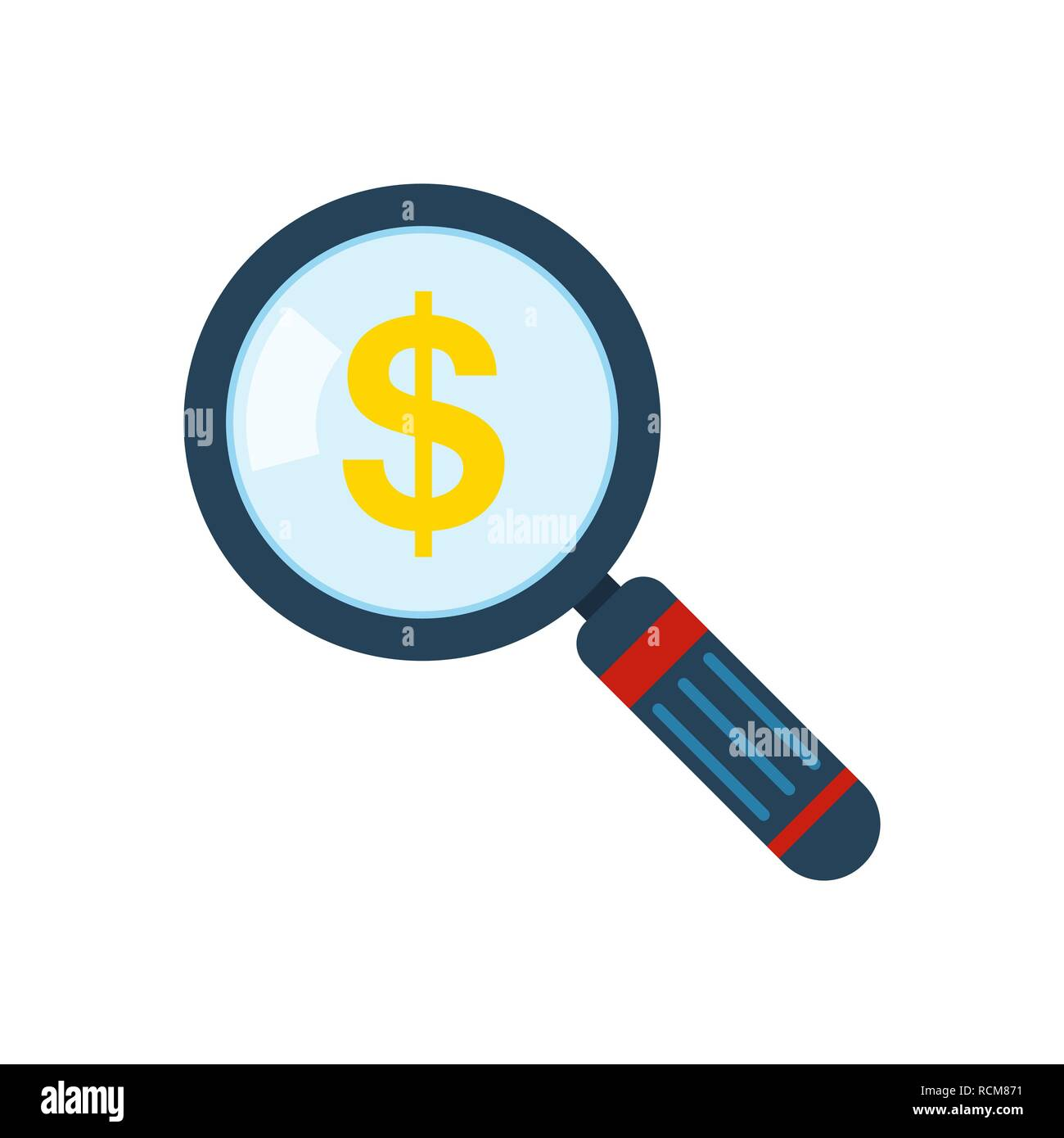 Magnifier and sign of dollar. Vector illustration. Abstract finance symbol. Locking for money - Stock Image