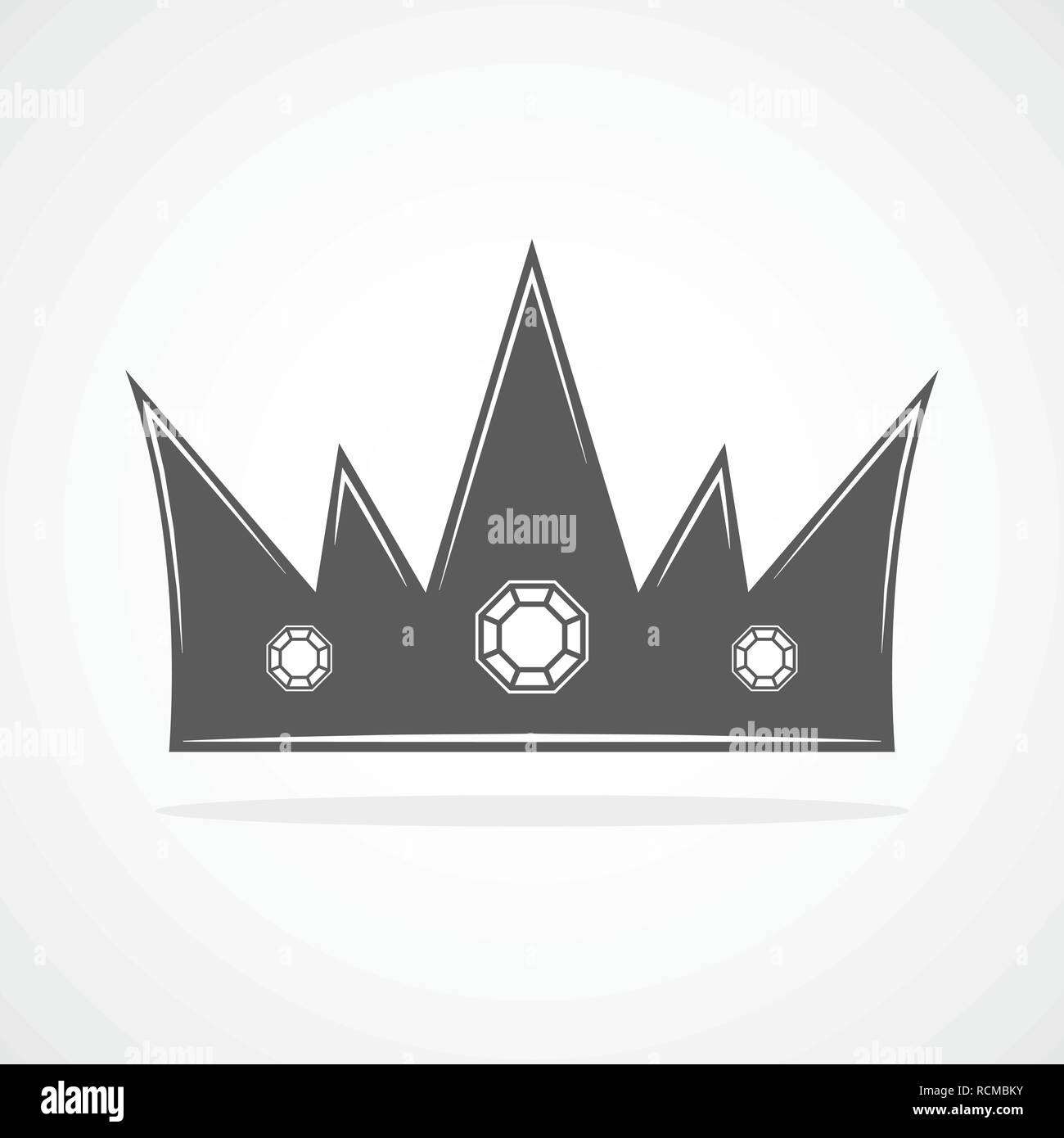 Gray crown icon. Crown silhouette isolated on white background. Vector illustration. - Stock Vector