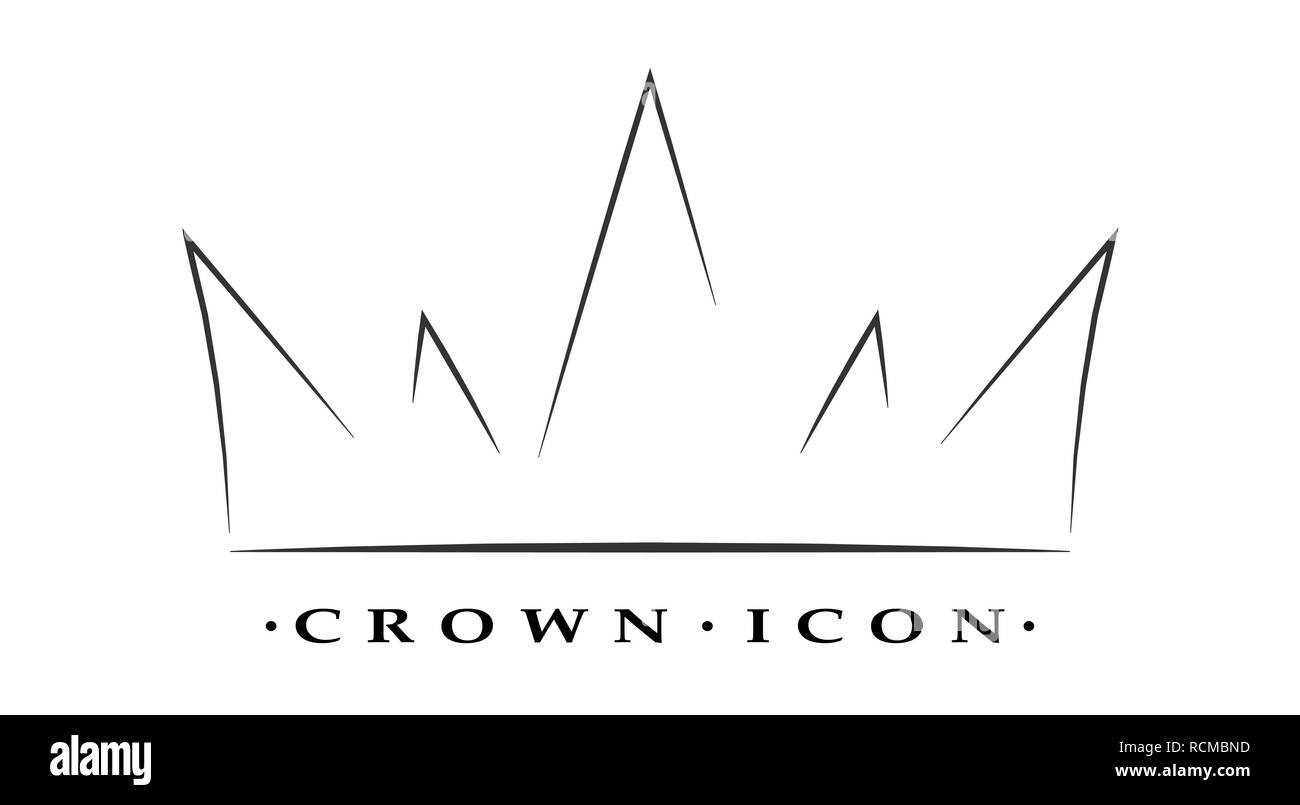 Crown icon in a linear style. Crown silhouette isolated on white background. Vector illustration. - Stock Vector