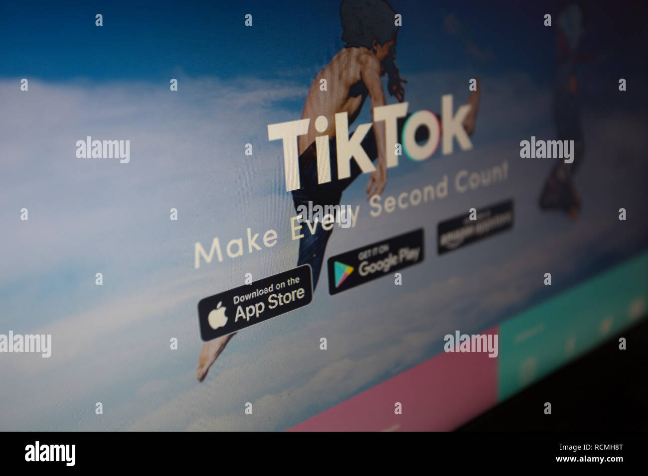TikTok, a.k.a. Douyin in China, is a media app for creating and sharing short videos. Logo on its website is shown on a laptop computer screen - Stock Image
